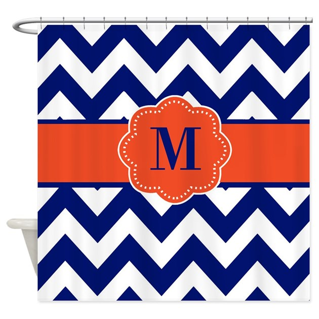 Navy Orange Chevron Monogram Shower Curtain By CupcakesandSprinklesBirthdayTees