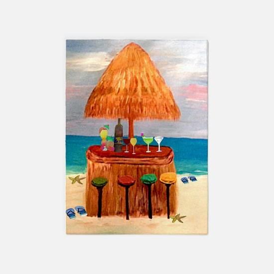 Tiki Beach Bar 5'x7'area Rug