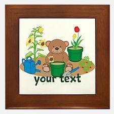 Personalized Garden Teddy Bear Framed Tile