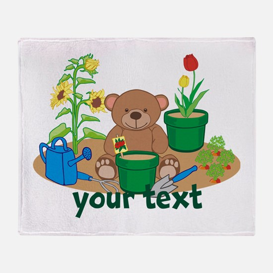 Personalized Garden Teddy Bear Throw Blanket