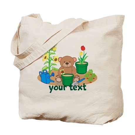 Lovely Personalized Garden Teddy Bear Tote Bag
