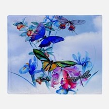 Take Flight! Butterfly Orchid Art Throw Blanket