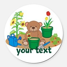 Personalized Garden Teddy Bear Round Car Magnet