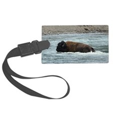 Bison in water Luggage Tag