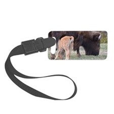 Bison w/red dog Luggage Tag