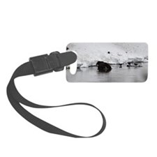 Bear sitting on Bison kill Luggage Tag