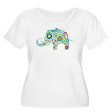 Colorful Retro Floral Elephant Plus Size T-Shirt