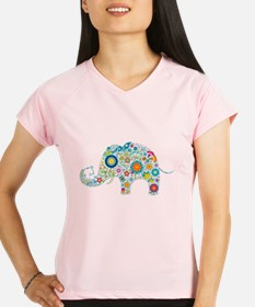 Colorful Retro Floral Elephant Performance Dry T-S
