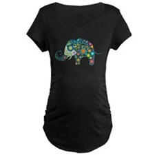 Colorful Retro Floral Elephant Maternity T-Shirt
