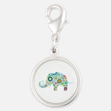 Colorful Retro Floral Elephant Charms