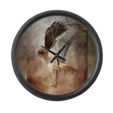 Evening Hawk Large Wall Clock