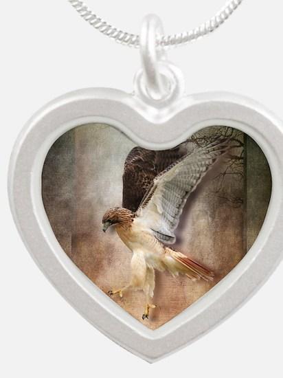 Evening Hawk Silver Heart Necklace