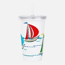 Cute Sailboats Acrylic Double-wall Tumbler