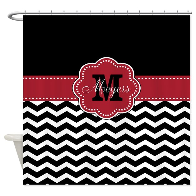 Black red chevron personalized shower curtain by for Kitchen colors with white cabinets with monogram stickers for cups