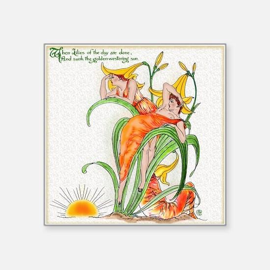 "FlorasFeast-DayLilies  Square Sticker 3"" x 3"""
