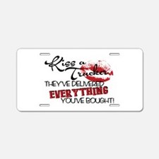 Kiss A Trucker Aluminum License Plate