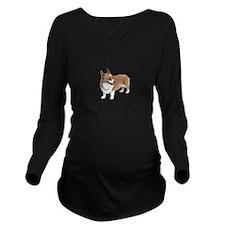 Cute Corgi Long Sleeve Maternity T-Shirt