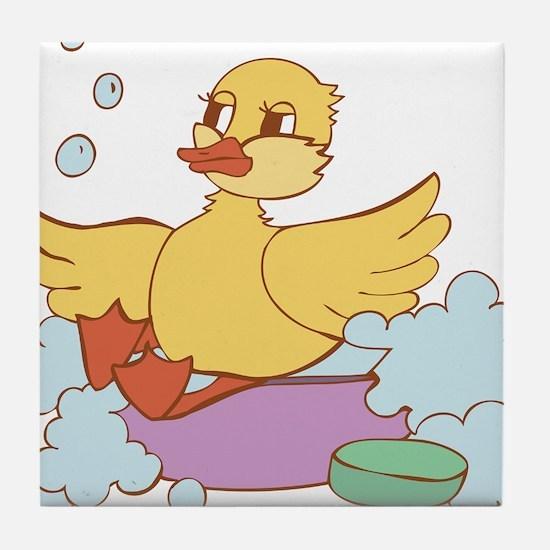 Duck in Bath Tile Coaster