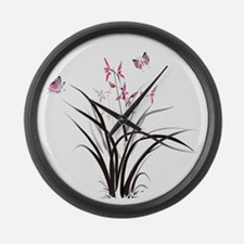 Chinese Orchids Large Wall Clock