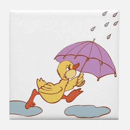 Duck in Rain Tile Coaster