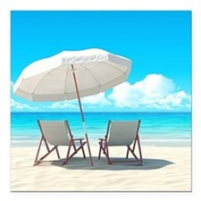 """Beach Vacation Square Car Magnet 3"""" x 3"""""""
