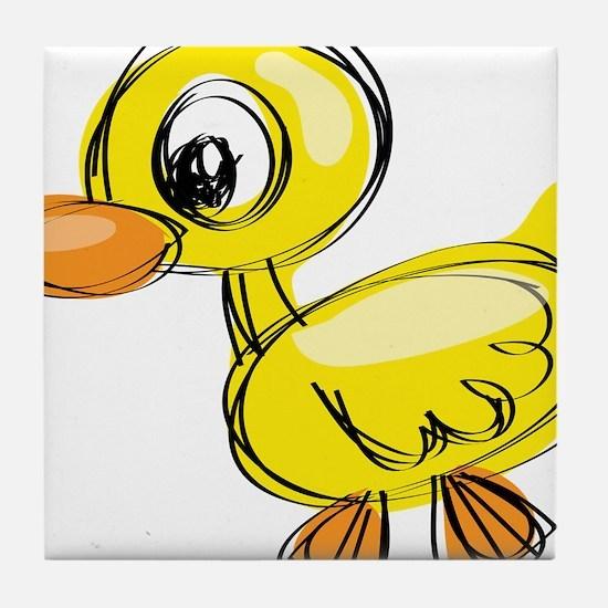 Sketched Duck Tile Coaster