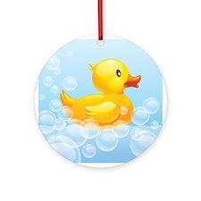 Duck in Bubbles Ornament (Round)
