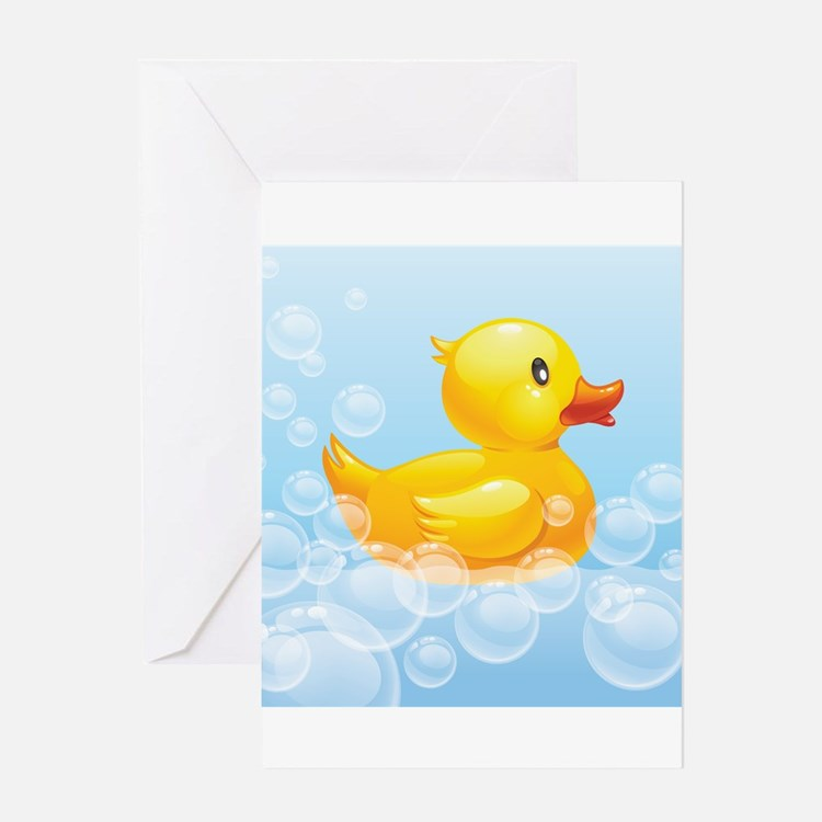 Duck in Bubbles Greeting Cards