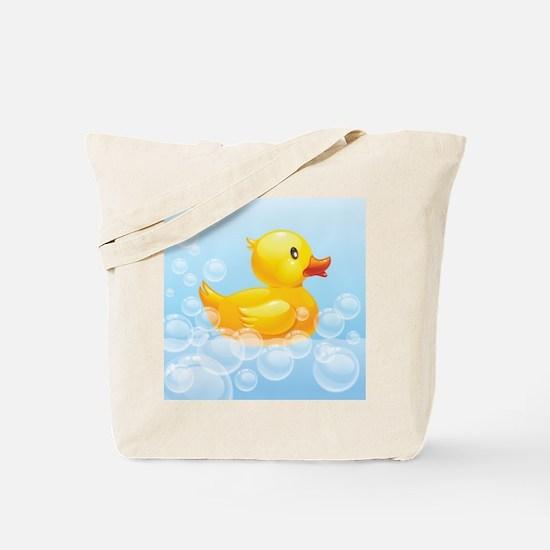 Duck in Bubbles Tote Bag