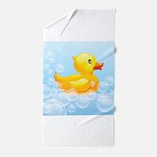 Duck in Bubbles Beach Towel