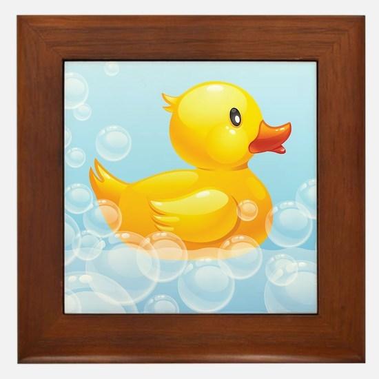 Duck in Bubbles Framed Tile