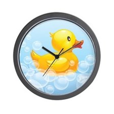 Duck in Bubbles Wall Clock