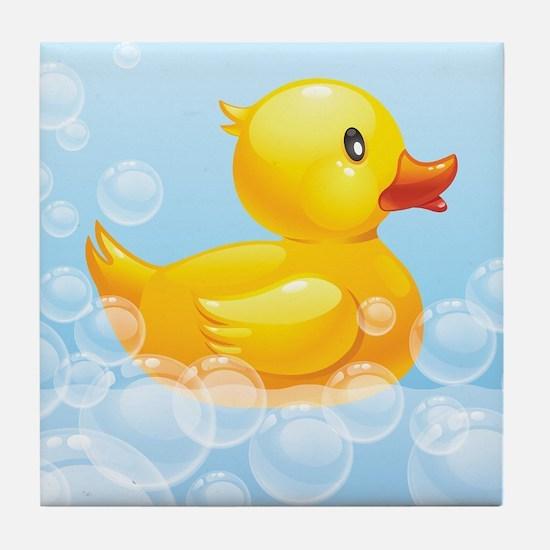 Duck in Bubbles Tile Coaster