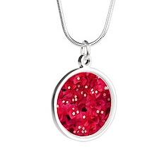 Bougainvillea Silver Round Necklace