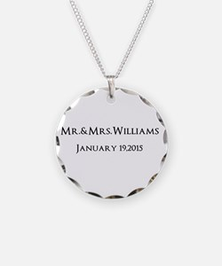 Personalized Wedding Name Date Necklace