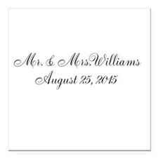 Personalized Wedding Name Date Square Car Magnet 3