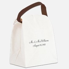 Personalized Wedding Name Date Canvas Lunch Bag