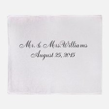 Personalized Wedding Name Date Throw Blanket