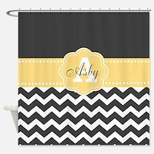 Gray Yellow Chevron Personalized Shower Curtain