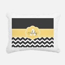 Yellow Gray Chevron Monogram Rectangular Canvas Pi