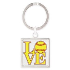 Unique Softball Square Keychain