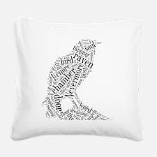 Raven as a Word Cloud Square Canvas Pillow