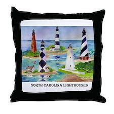 NC Light houses Throw Pillow