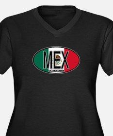 Mexico Colors Women's Plus Size V-Neck Dark T-Shir