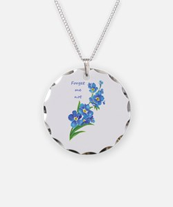 Forget-Me-Not Watercolor Flower & Quote Necklace