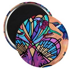 Hummingbird and Stained Glass Heart Magnet