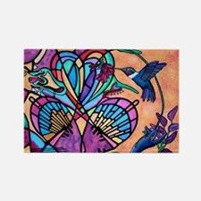 Hummingbird and Stained Glass Hea Rectangle Magnet