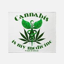 Cannabis is my medicine Throw Blanket