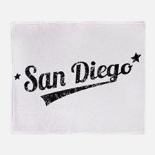 Distressed Retro San Diego Logo Throw Blanket