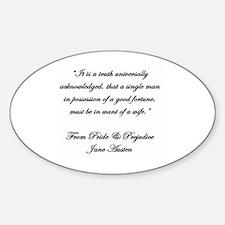 Jane Austen Quote Truth Decal